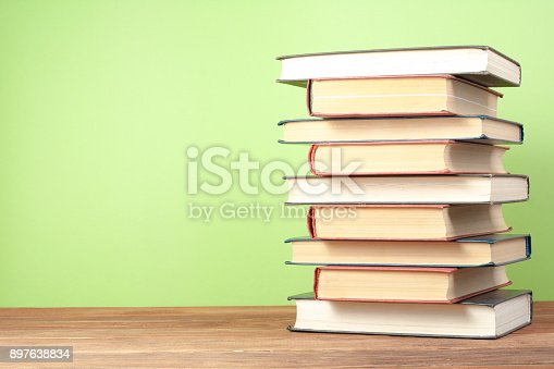 897558204 istock photo Stack of colorful books. Education background. Back to school. Copy space for text. 897638834