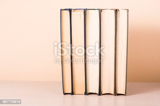 897558204 istock photo Stack of colorful books. Education background. Back to school. Copy space for text. 897729918