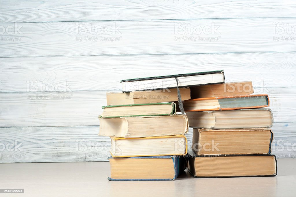 Stack of colorful books. Education background. Back to school. Copy royaltyfri bildbanksbilder