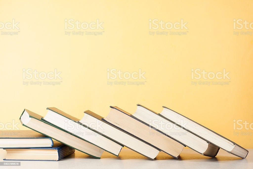 Stack of colorful books. Education background. Back to school. Copy royaltyfri bildbanksbilder