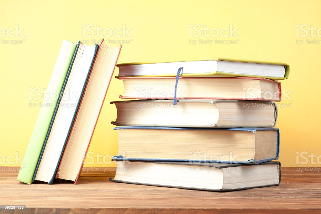 Stack of colorful books. Education background. Back to school. Copy Стоковые фото Стоковая фотография