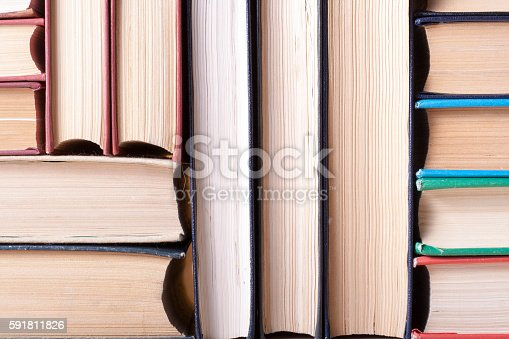 istock Stack of colorful books. Education background. Back to school. Copy 591811826