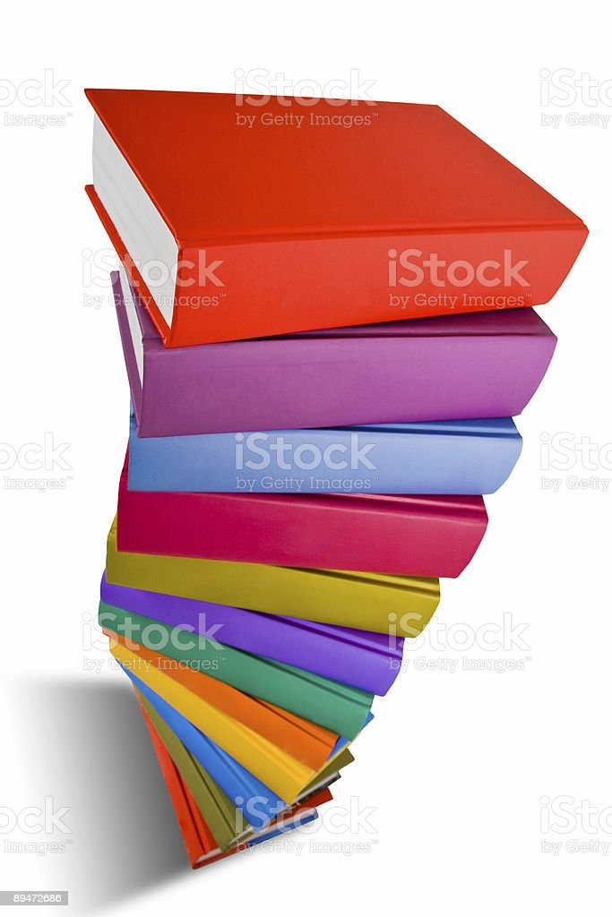 stack of colorful books isolated royalty-free stock photo