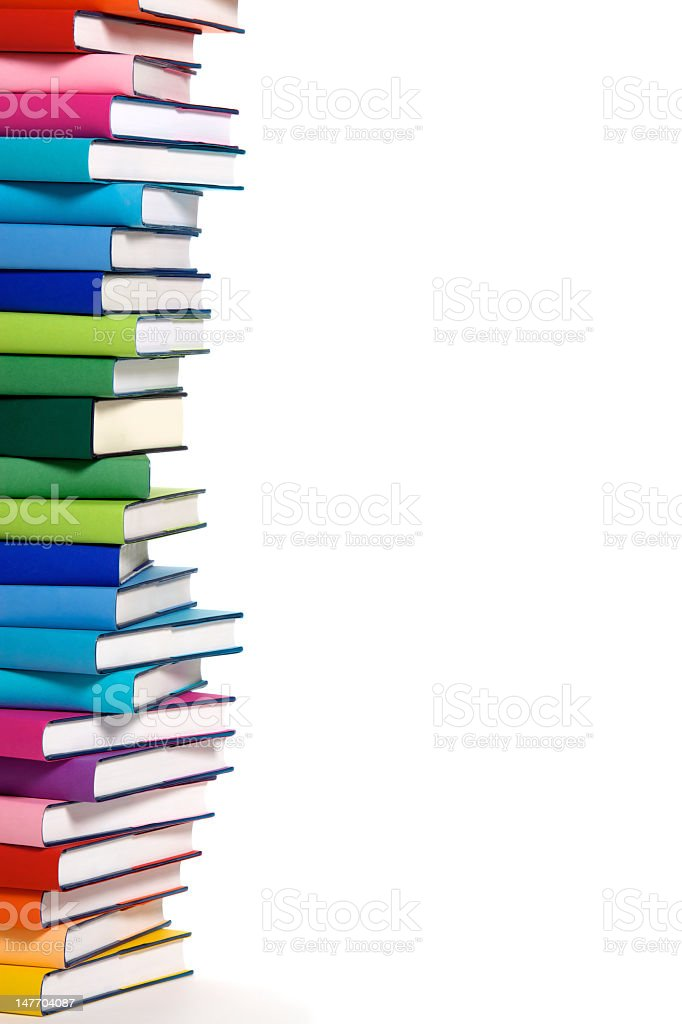 Stack Of Colorful Books Left Border Stock Photo - Download ...