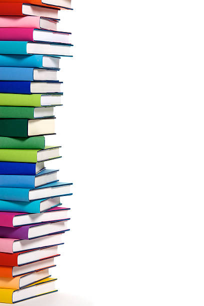 Stack of colorful books left border stock photo
