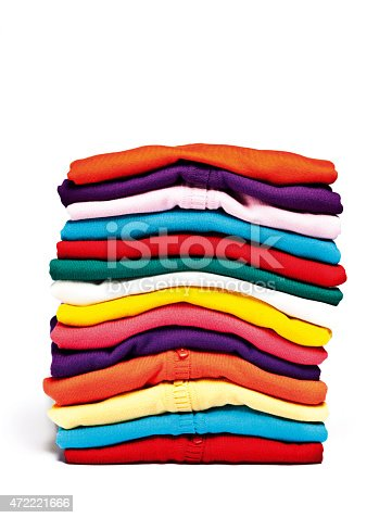 186826582 istock photo A stack of colorful clothes on a white background 472221666