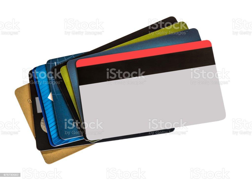 Stapel von bunten Kreditkarten isoliert auf weißem Hintergrund. - Lizenzfrei Bank Stock-Foto