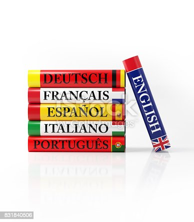 istock Stack of Colorful Dictionaries on White 831840506
