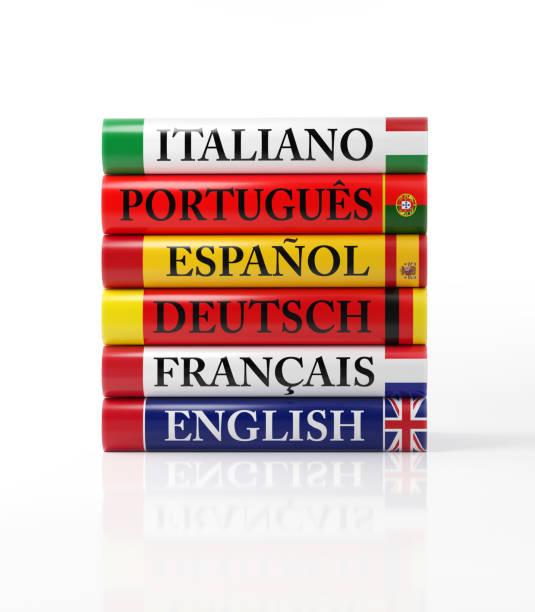 Stack of Colorful Dictionaries on White stock photo