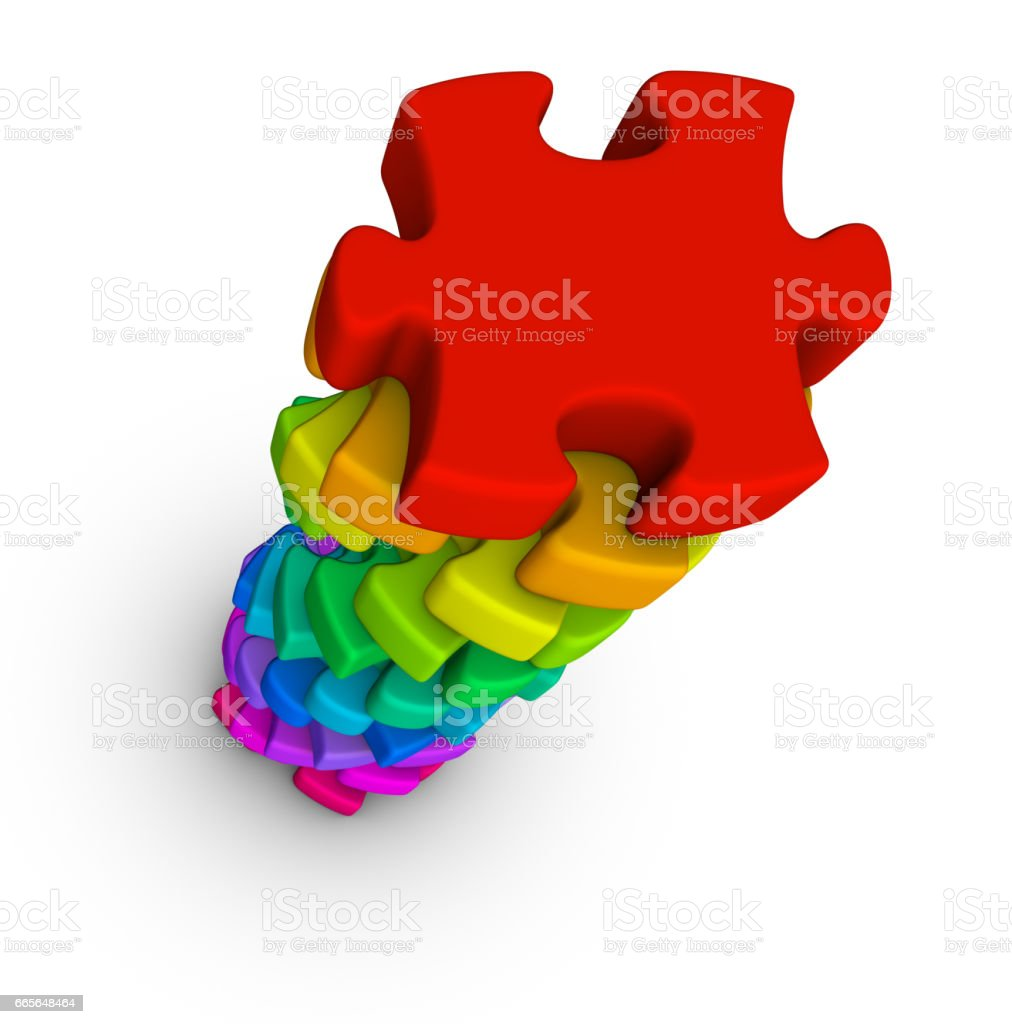Stack of colorful jigsaw puzzle pieces stock photo