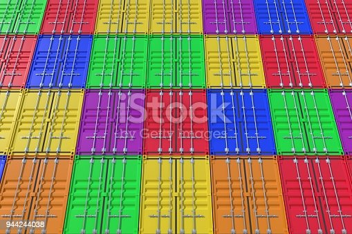 944243850 istock photo Stack of colorful ship cargo containers background 944244038