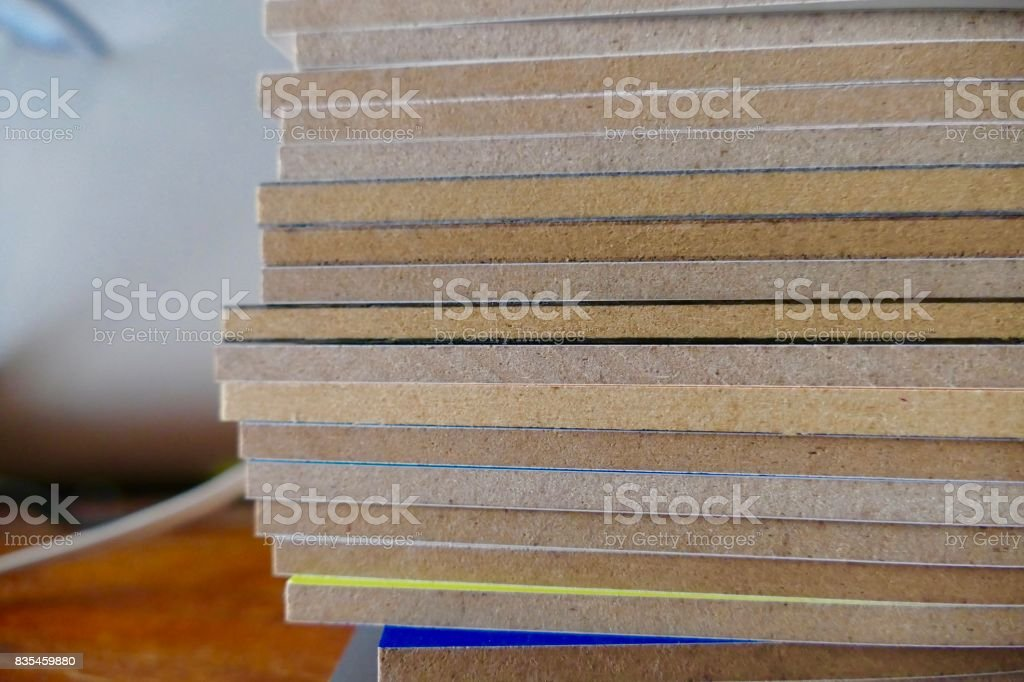 Stack of colorful wooden parts stock photo