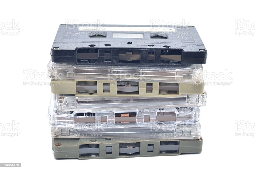 stack of compact cassettes stock photo