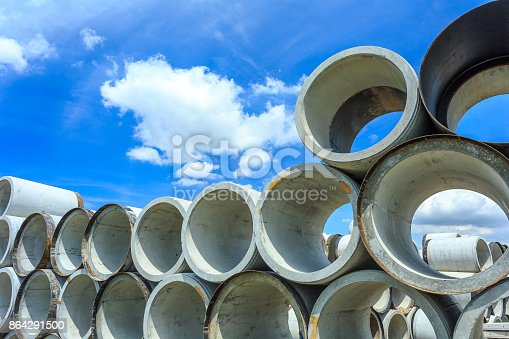 Stack Of Concrete Drainage Pipes For Wells And Water Discharges Stock Photo & More Pictures of Business