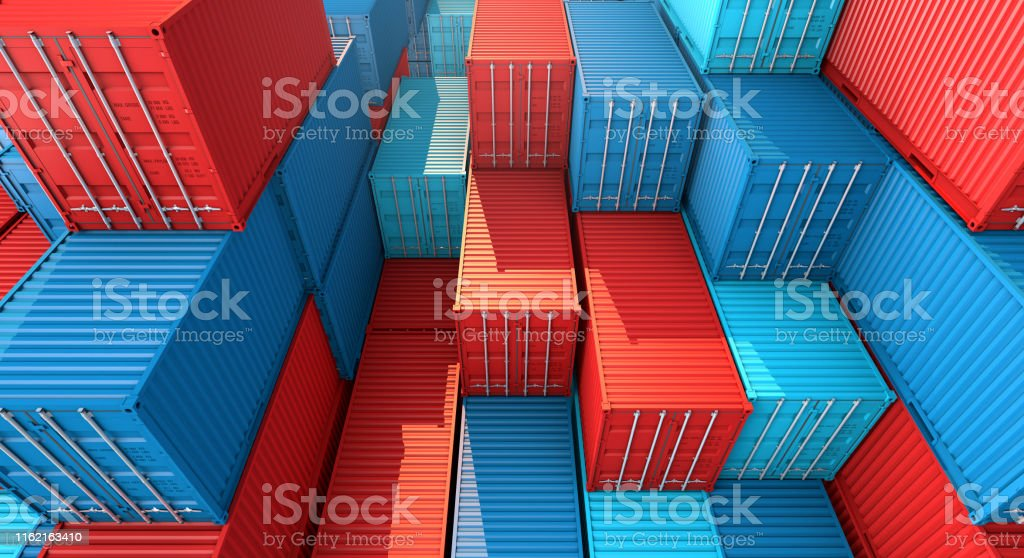 Stack of containers box, Cargo freight ship for import export...