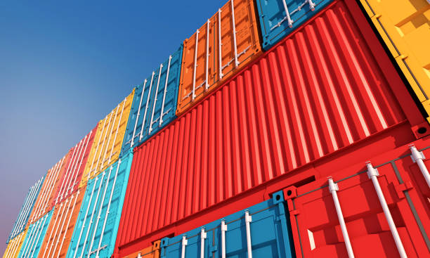 stack of containers box, cargo freight ship for import export business - container stock photos and pictures