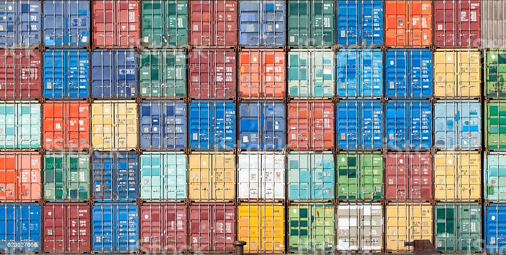Stack of containers in the harbor of Antwerpe, Belgium stock photo