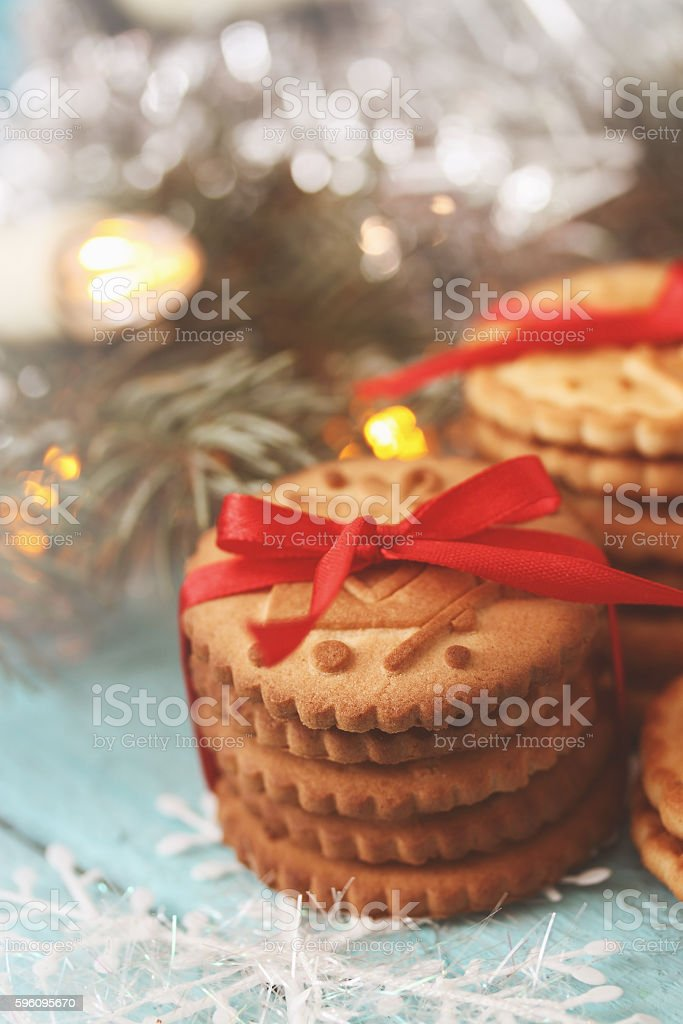 stack of cookies with a red bow, tinted royalty-free stock photo