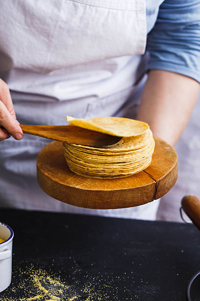 Stack of Corn Tortillas. Mexican food. stock photo