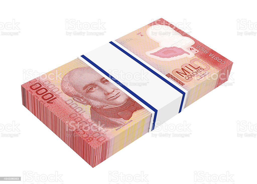 Stack of Costa Rica colones bills royalty-free stock photo