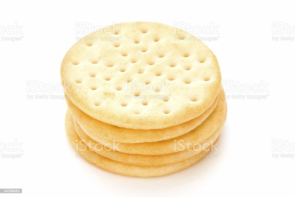Stack of crackers on white royalty-free stock photo