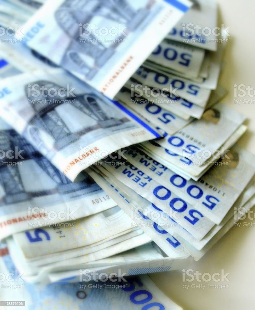 Stack of Danish banknotes stock photo