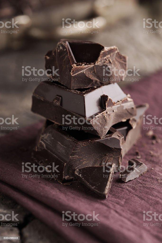Stack of dark chocolate stock photo