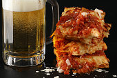 Stack Of Detroit Style Pizza Slices And A  Mug Of Beer