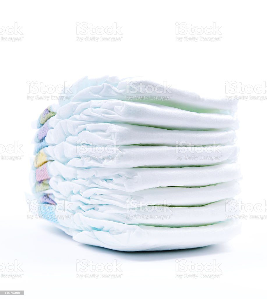 Stack of Diapers at the nursery stock photo