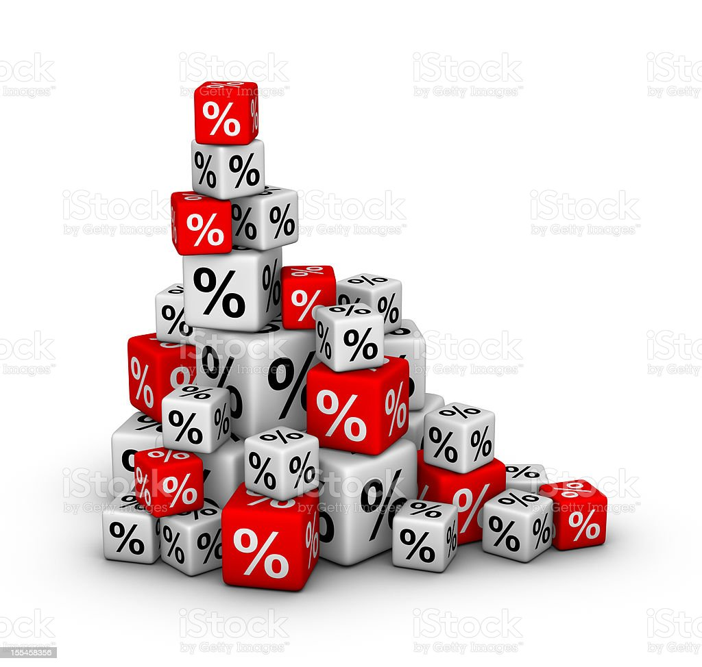 Stack of dice with percentages in color stock photo