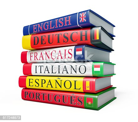 istock Stack of dictionaries isolated 517248573