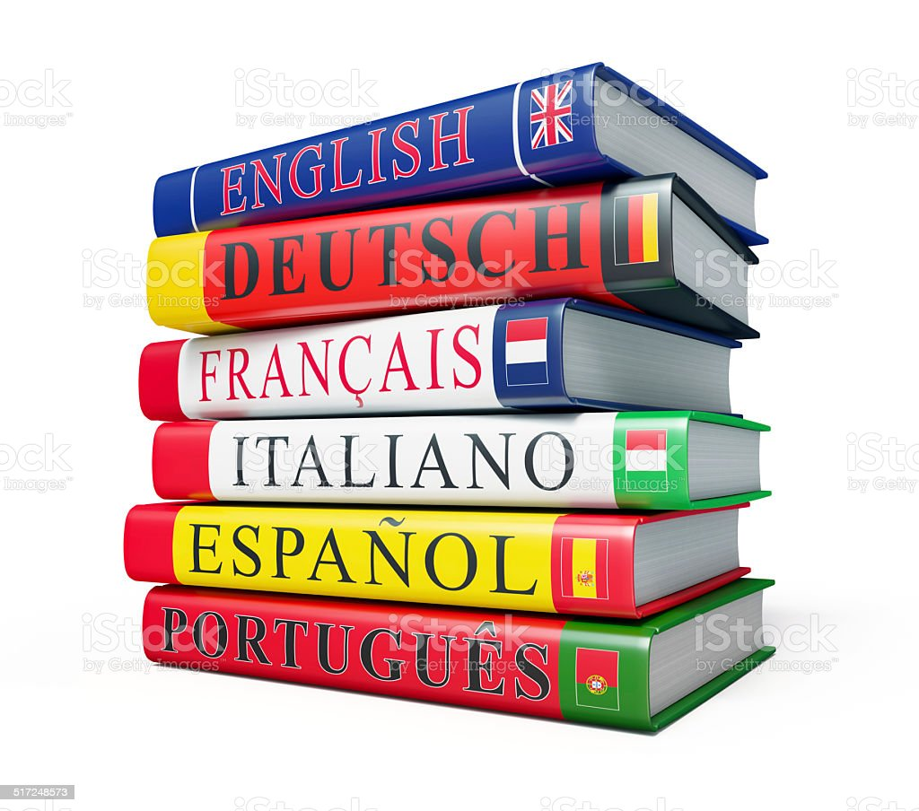 Stack of dictionaries isolated stock photo