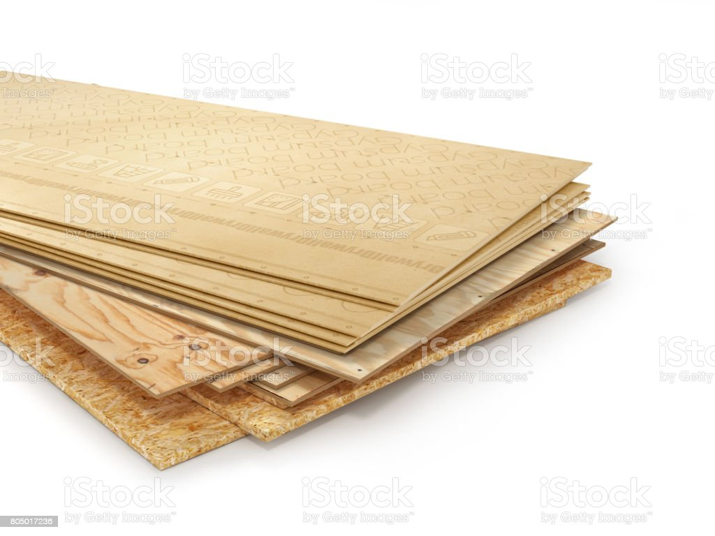 Stack of different boards. OSB, plywood and gypsum board. 3d illustration stock photo