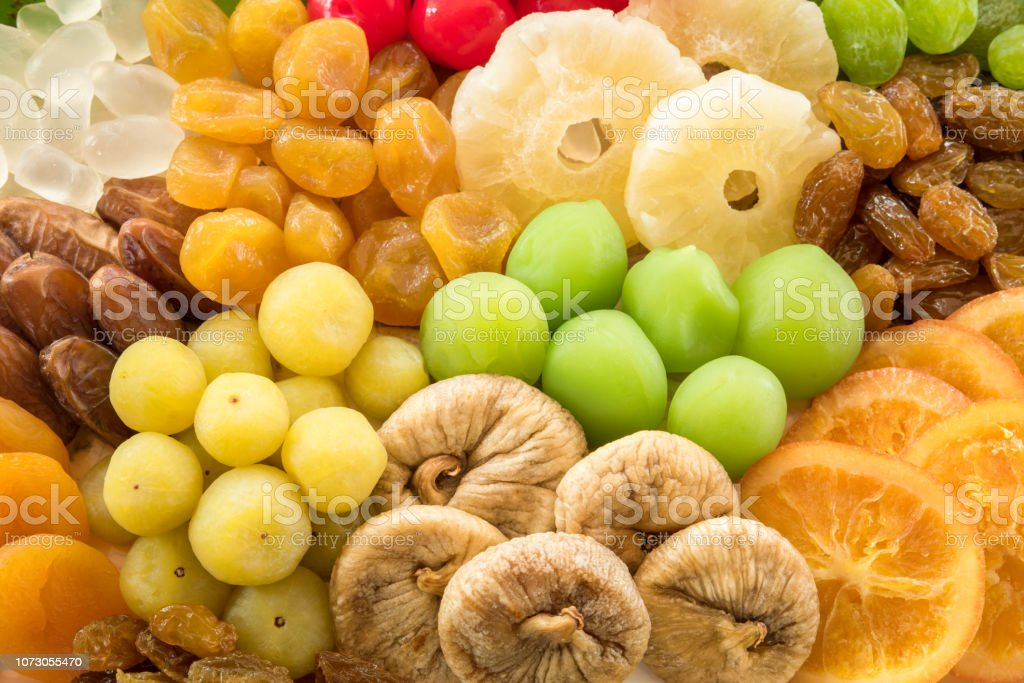 Stack Of Different Dried Fruits For Eating Healthy Variation