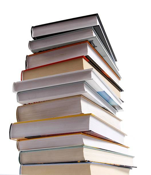 Stack of different kinds of books isolated on white stock photo