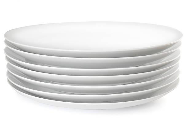Pila di piastre cena - foto stock