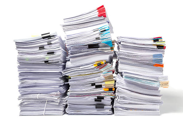 Stack of Documents isolated on white background stock photo
