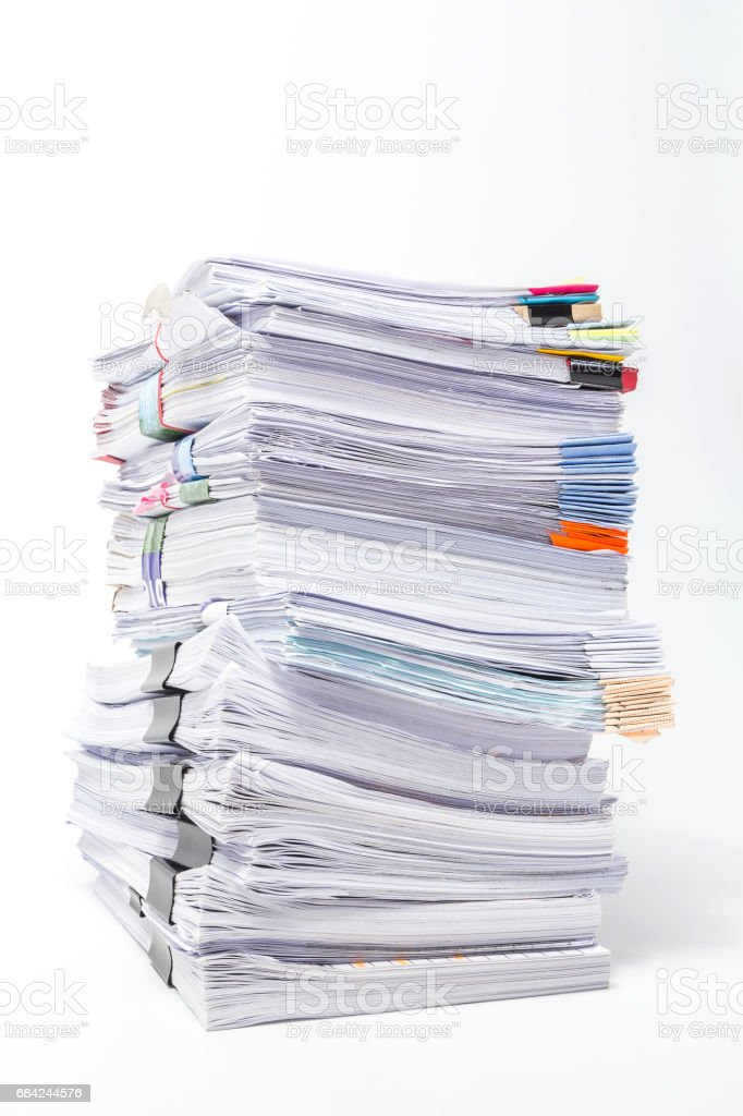 Stack of Documents isolated on white background royalty-free stock photo