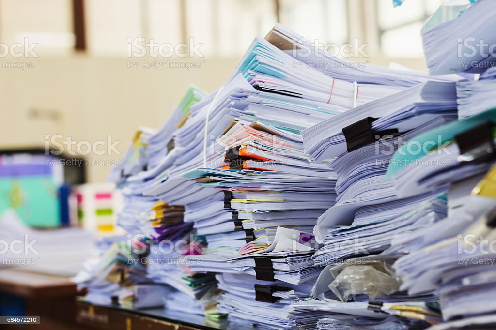 stack of documents or files in office desk stock photo