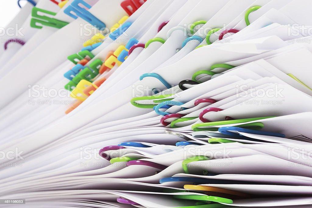 Stapel von Dokumenten mit clips – Foto