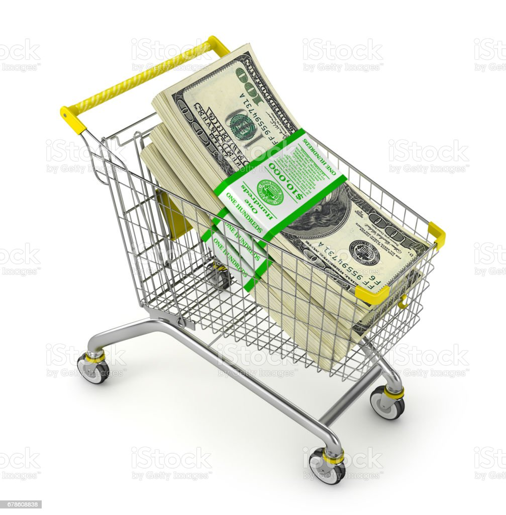 Stack of dollars in the shopping cart. Money Trolley. 3d illustration vector art illustration