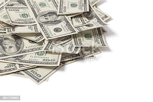 istock Stack of dollars on white background 664258862