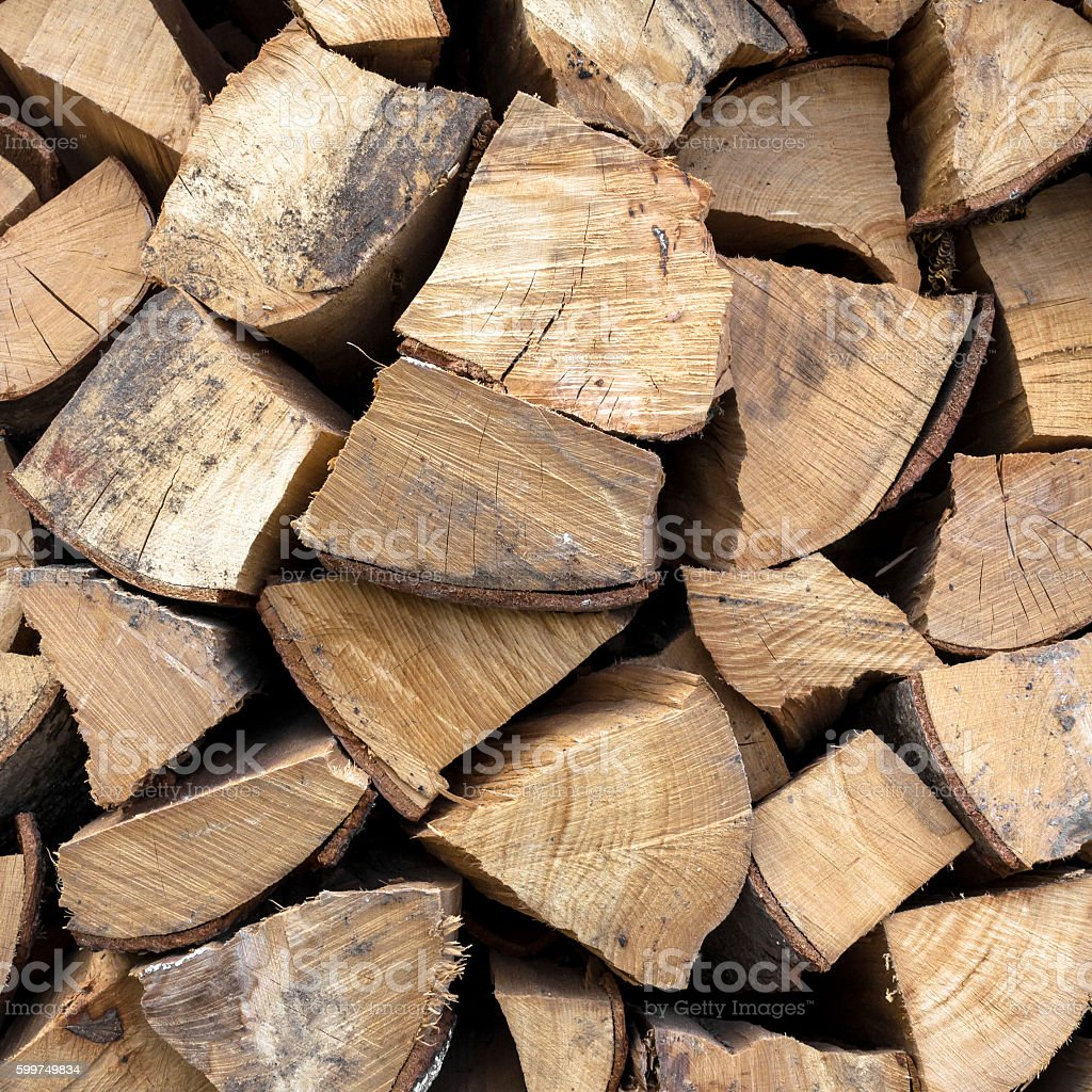 Stack of dried firewood stock photo