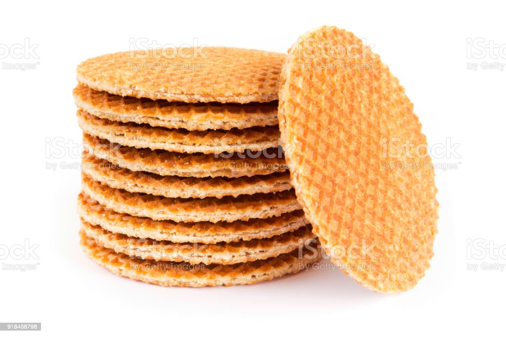 Stack of Dutch stroopwafel cookies on a white background stock photo