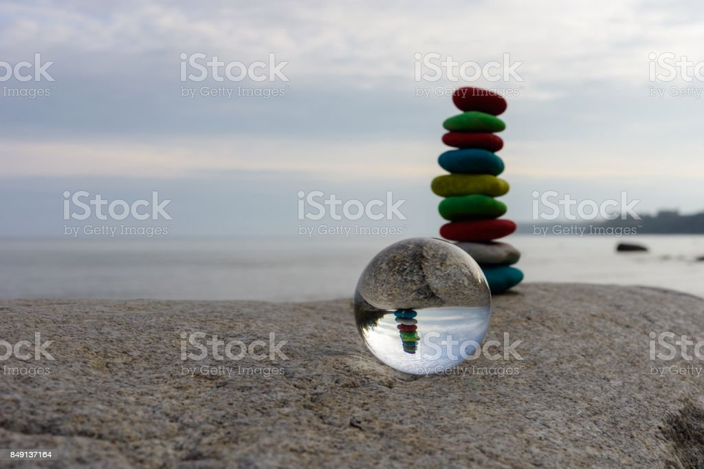 Stack of dyed stones stock photo