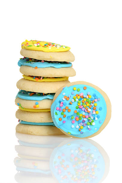 stack of easter sugar cookies stack of easter sugar cookies with white background  sugar cookie stock pictures, royalty-free photos & images