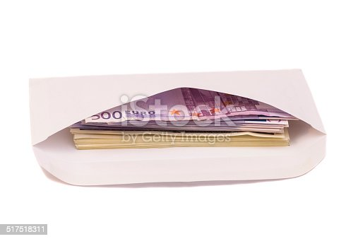 Stack of euro and dollars in open envelope isolated on white
