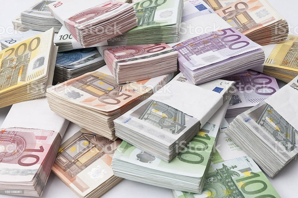 stack of euro banknotes stack of different euro banknotes Business Stock Photo