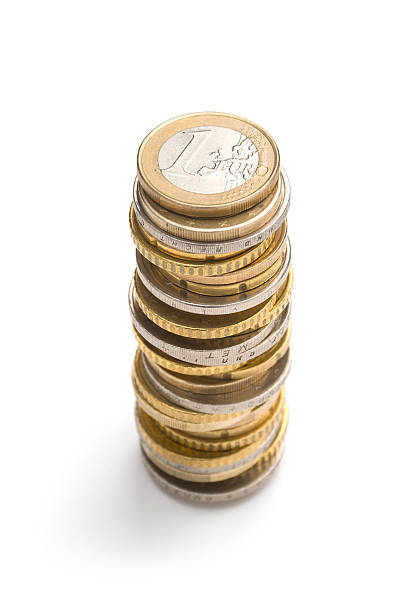 Stack of euro coins Stack of coins isolated on white. More related images in european union coin stock pictures, royalty-free photos & images