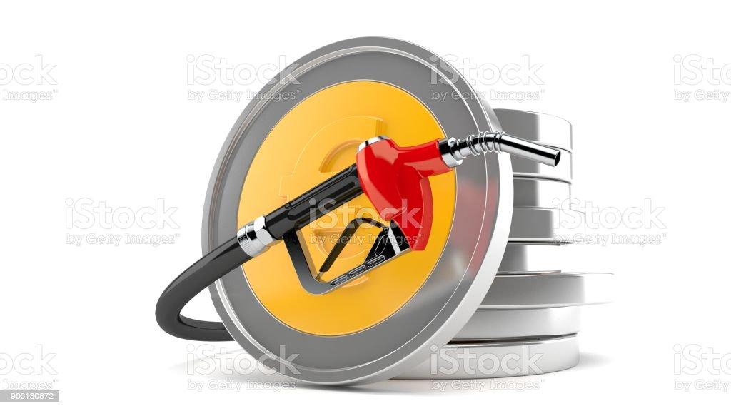 Stack av euromynt med bensin munstycke - Royaltyfri Bank Bildbanksbilder